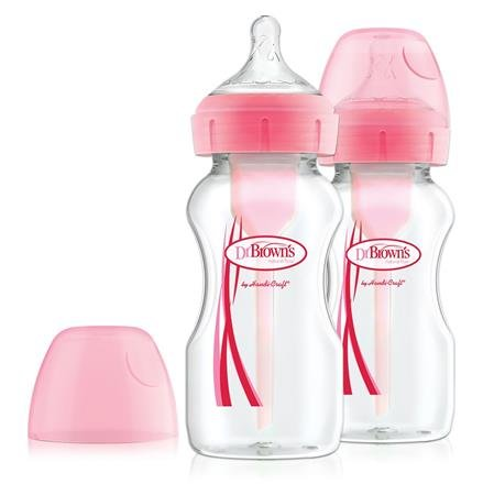 Kojenecká láhev širokohrdlá OPTIONS+ 2x270 ml rùžová - zvìtšit obrázek