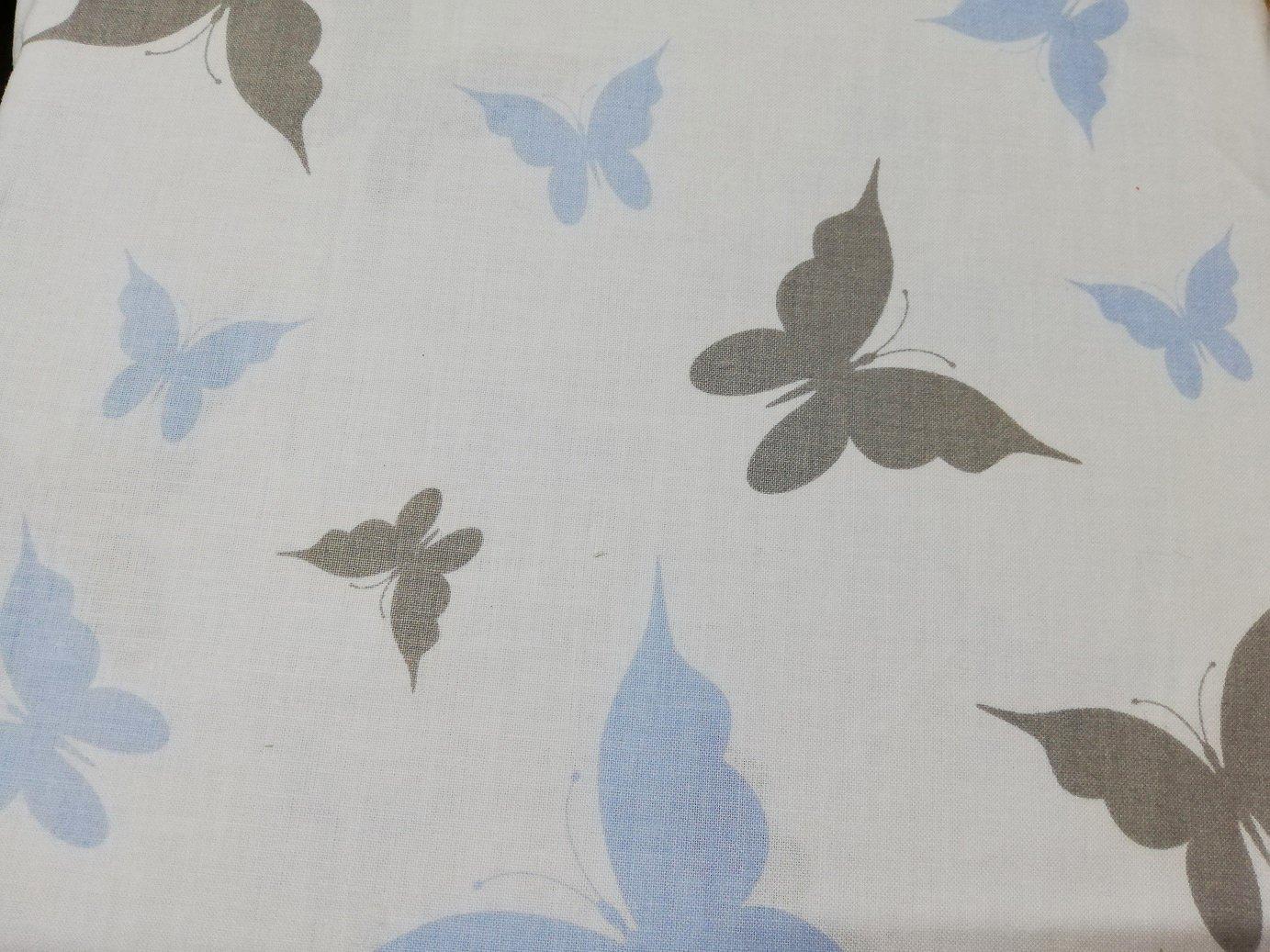 Bavlnìné prostìradlo 120x60 cm bílé s šedo-modrými motýlky - zvìtšit obrázek