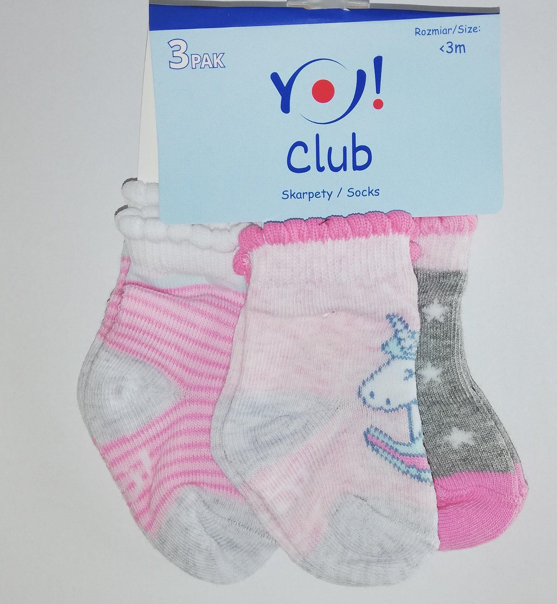 Ponožky kojenecké 3 páry v balení 0-3m barevné holka - zvìtšit obrázek