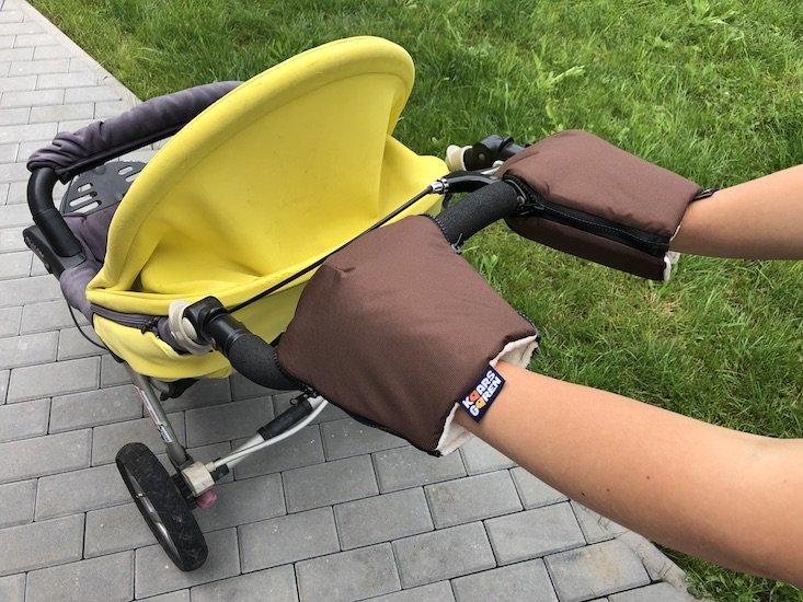 Hnìdé rukavice na koèárek biobavlna - zvìtšit obrázek