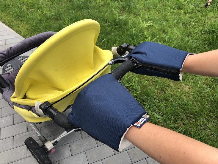 Modré rukavice na koèárek biobavlna - zvìtšit obrázek