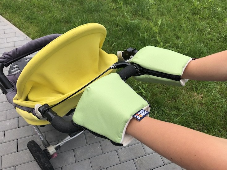 Zelené rukavice na koèárek biobavlna - zvìtšit obrázek