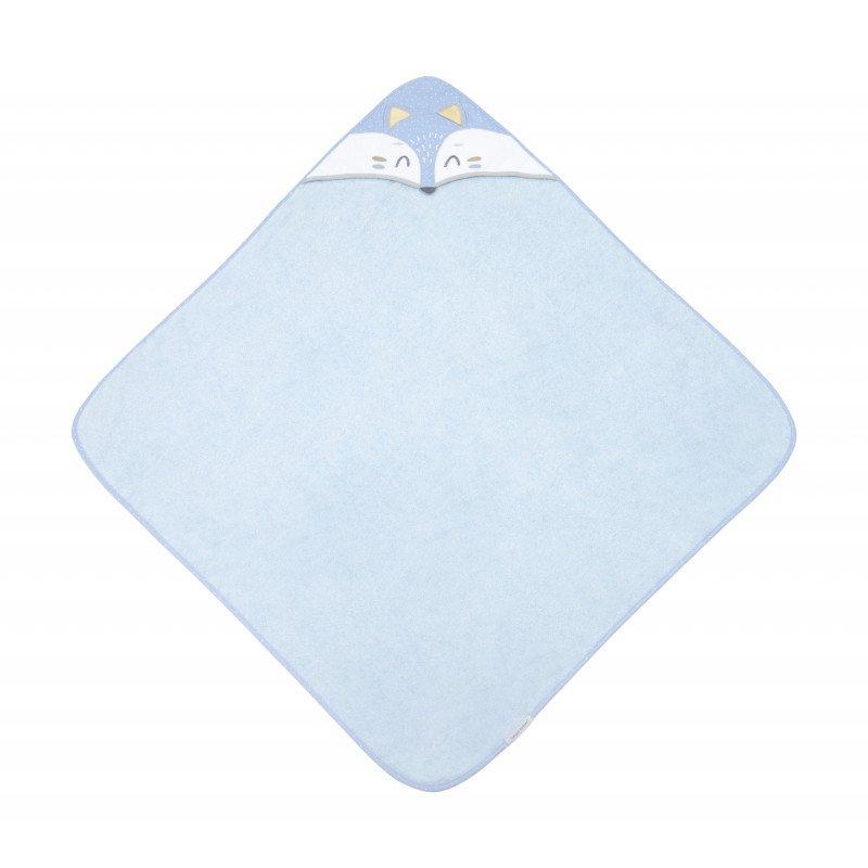 Mìkká osuška s kapucí 100x100cm LIŠKA modrá - zvìtšit obrázek