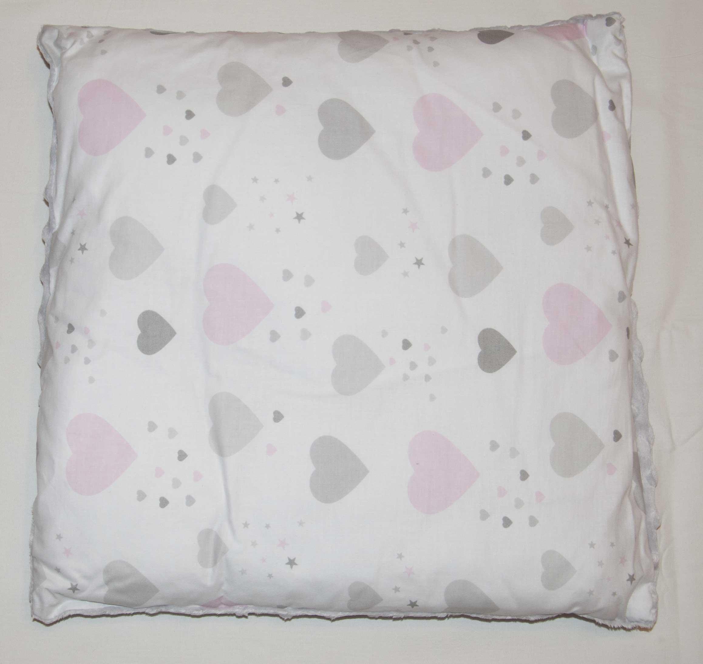 Dìtský polštáø bavlna + minky 40x40 cm srdce rùžová - zvìtšit obrázek
