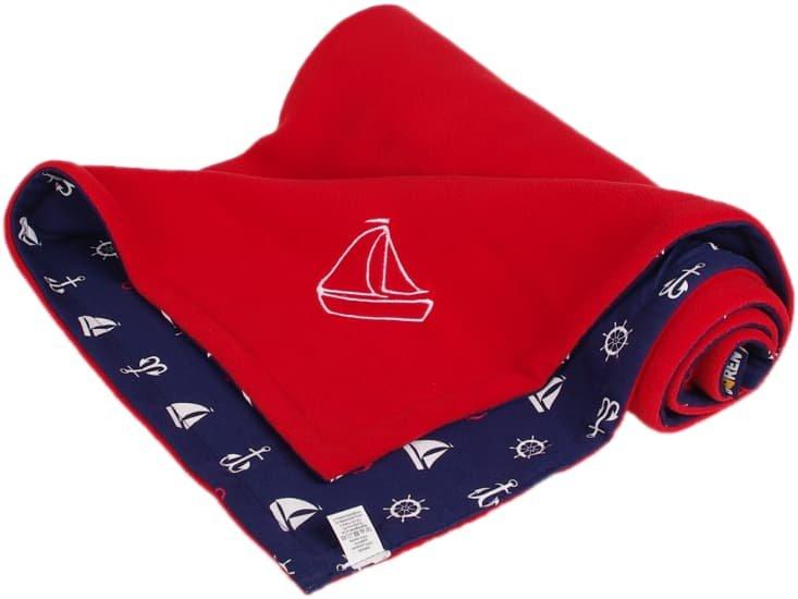 Dìtská deka èervená lodièky fleece bavlna - zvìtšit obrázek