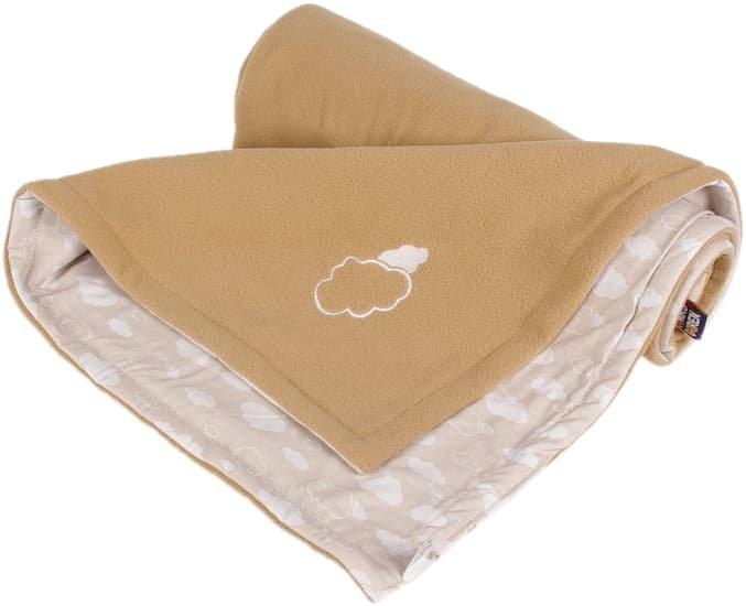 Dìtská deka béžová obláèky fleece bavlna - zvìtšit obrázek