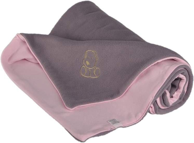 Dìtská deka s pejskem fleece bavlna 70x100cm šedo rùžová - zvìtšit obrázek
