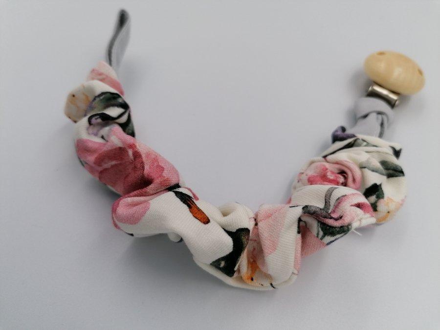 Klip k dudlíku bavlna Rùže bílo-èervená - zvìtšit obrázek