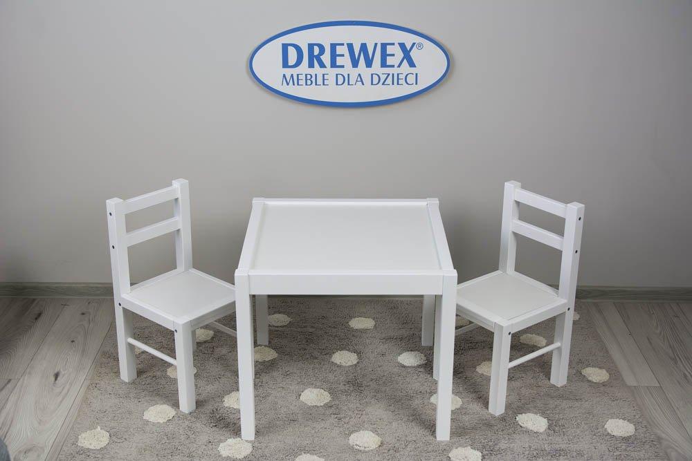 Døevìný dìtský stùl a dvì židlièky bílá/bílá - zvìtšit obrázek