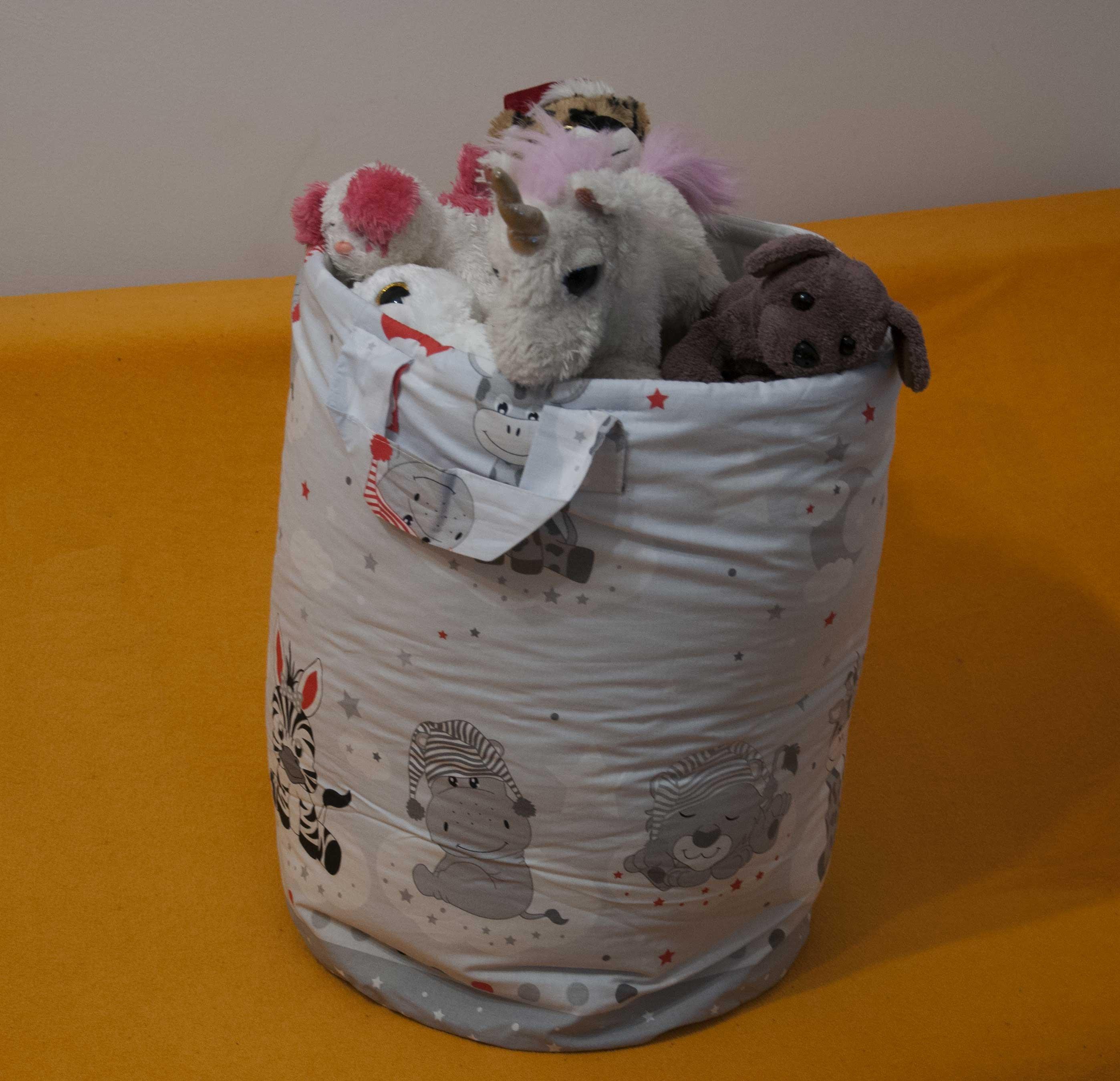Bavlnìný koš - taška - na hraèky Zvíøátka šedá - zvìtšit obrázek