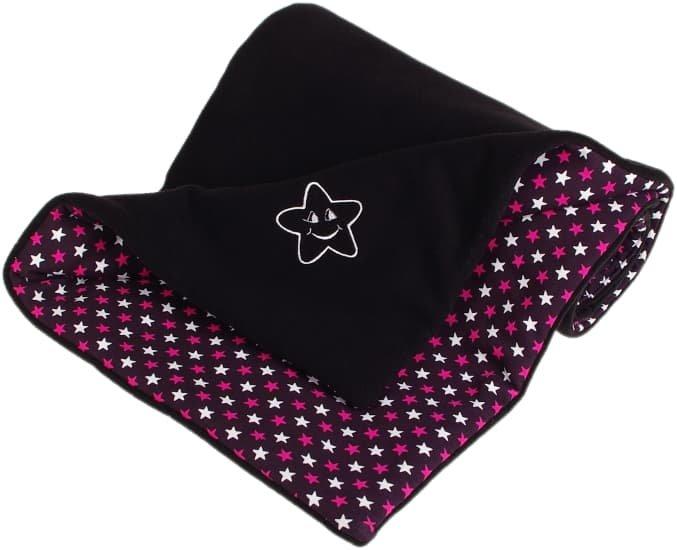 Zateplená dìtská deka 70x100 cm èerná hvìzdièky - zvìtšit obrázek