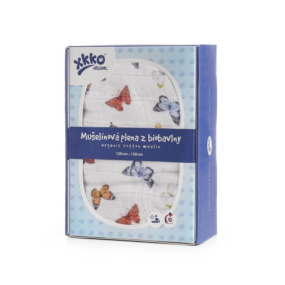 Bavlnìná plena Organic 120x120 cm Butterflies - zvìtšit obrázek