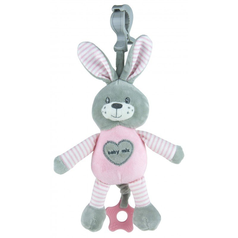 Plyšová hraèka s klipem a vibrací 25 cm králík rùžová - zvìtšit obrázek