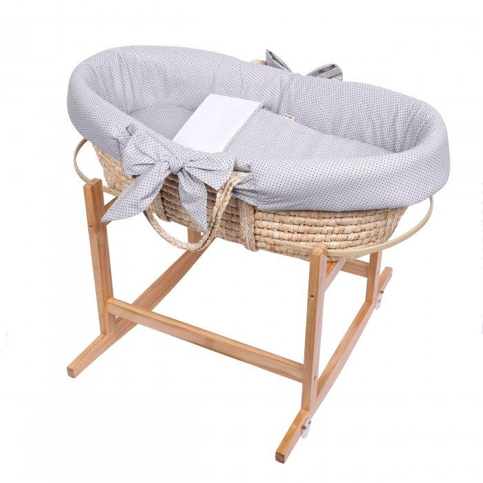 Koš Mojžíšùv pro miminko se stojanem s matrací a povleèením 3 dílným šedá - zvìtšit obrázek