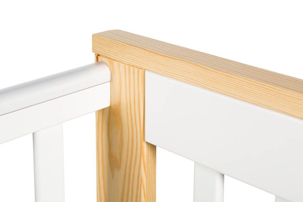 Dìtská postýlka se šuplíkem a zábradlím IVO 120x60 cm bílá-pøírodní - zvìtšit obrázek