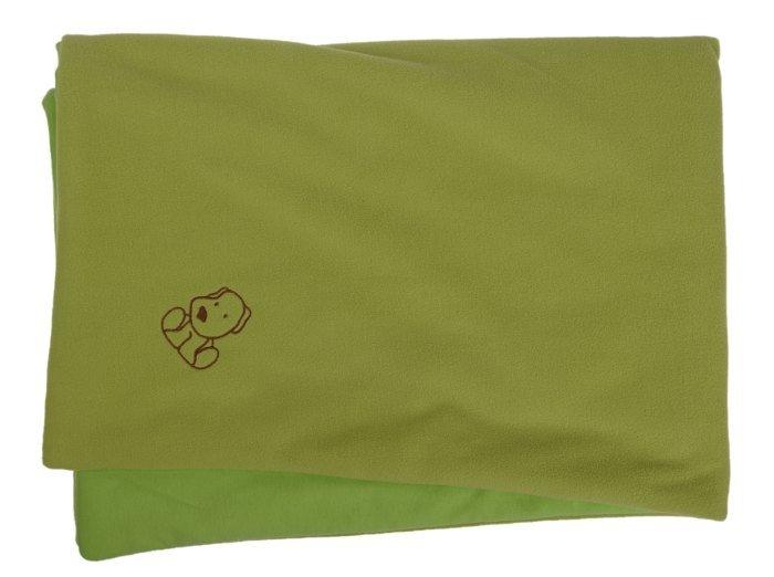 Dìtská deka zelená s pejskem fleece bavlna - zvìtšit obrázek