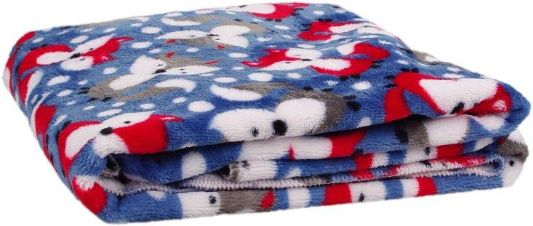 Deka Flanel fleece modrá liška 100x150cm - zvìtšit obrázek