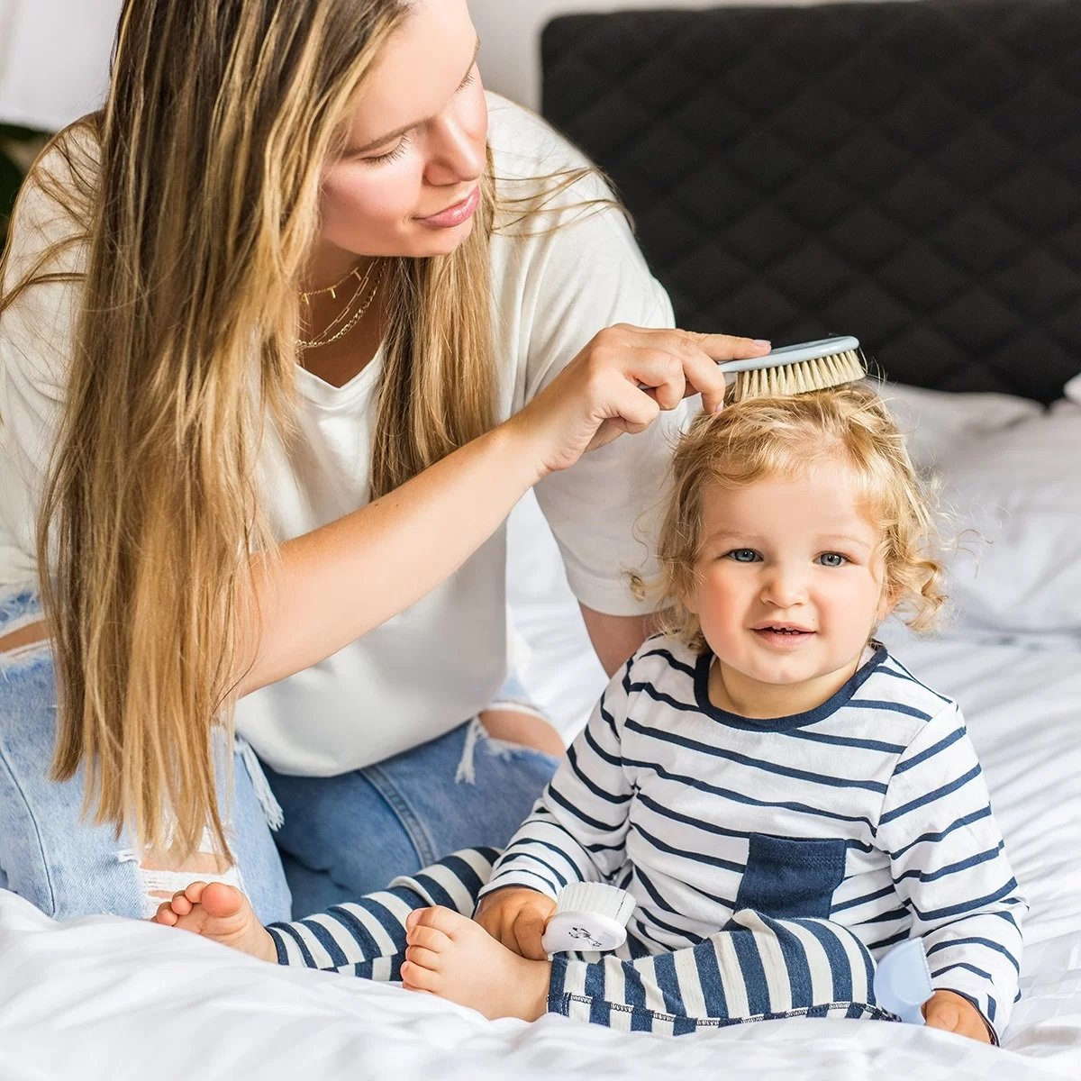 Kartáè a høeben na vlasy na mìkké vlasy pøírodní tyrkysová - zvìtšit obrázek