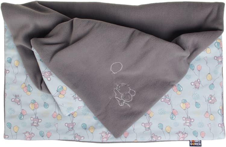 Zateplená dìtská deka 70x100 cm šedá myšky - zvìtšit obrázek